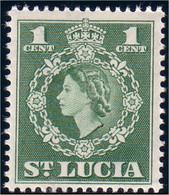 580 Saint Lucia 1 Cent Green MNH ** Neuf SC (LUC-10b) - Royalties, Royals