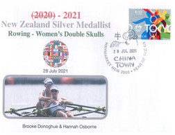 (XX 11 A) 2020 Tokyo Summer Olympic Games - New Zealand Silver Medal 3-8-2021 Sailing Men's Skiff (Olympic Corner Stamp) - Zomer 2020: Tokio