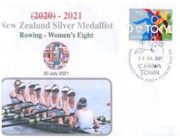 (XX 11 A) 2020 Tokyo Summer Olympic Games - New Zealand Silver Medal 30-7-2021 Rowing Women's 8 (Olympic Corner Stamp) - Zomer 2020: Tokio