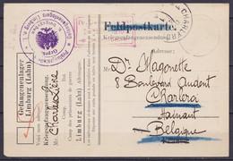 Feldpostkarte (Kriegsgefangenensendung) Du Camp De Prisonnier Datée 26 Mars 1916 De LIMBURG (Lahn) Pour CHARLEROI - Cach - Prisoners