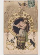 Carte Fantaisie / Jeune Femme ,  Symboles Astrologiques , Angelot , Cartes à Jouer ... - Astrologia