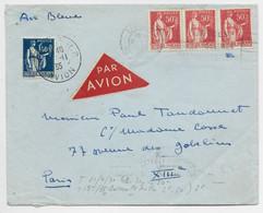 PAIX 1FR50+50CX3 LETTRE AIR BLEU + ETIQUETTE AVION LIMOGES RP AVION 8.11.1935 POUR PARIS - Luchtpost
