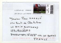 Enveloppe FRANCE Avec Vignette D' Affranchissement Lettre Verte Oblitération LA POSTE 41974A-02 25/05/2021 - 2010-... Viñetas De Franqueo Illustradas