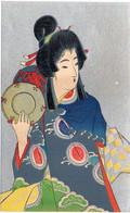Femme Art Nouveau - Japonaise  - Fond Argenté    (7731 ASO) - 1900-1949