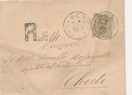 1900 SCAFA CHIETI CERCHIO GRANDE SU RACCOMANDATA 0,45 UMBERTO - Marcophilia