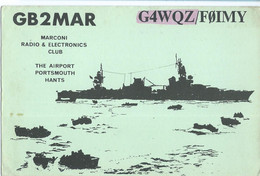 "QSL Cards - ,,Marconi"" Radio Amateur Club - 1985 - United Kingdom,England,The Airport Portsmouth,ships Motive - Radio Amateur"