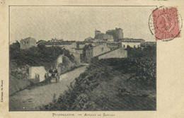 PUISSALICON Avenue De Servian Animée Attelage RV Beau Cachet Puissalicon - Autres Communes