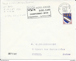 AISNE 02 - ST QUENTIN  - FLAMME N° 1394 -  MOTO CROSS SIDE CAR CHAMPIONNAT INTER ST QUENTIN 12 AVRIL 64 - 1964 - Mechanical Postmarks (Advertisement)