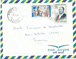 GABON PORT-GENTIL TàD 9.3.67 TIMBRES CAISSE D'ÉPARGNE 25 F. + LÉON MBA 25 F. - Gabon