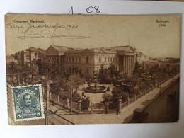 Cpa écrite En 1920, Congreso Nacional Santiago Chile (verso Cachet Luis Alberto Bizeu, Santiago) - Chile