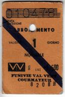 SKIPASS ABBONAMENTO GIORNALIERO FUNIVIE VAL VENY COURMAYEUR 1984 - Toegangskaarten