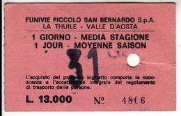 SKIPASS ABBONAMENTO GIORNALIERO FUNIVIE PICCOLO SAN BERNARDO VALLE D'AOSTA - Toegangskaarten