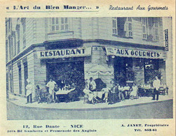 D06 NICE  Restaurant Aux Gourmets 12 Rue Dante   ..... A.Janet Propriétaire - Cafés, Hotels, Restaurants