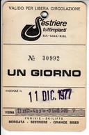 SKIPASS TESSERA GIORNALIERA SESTRIERE 1977 - Toegangskaarten