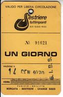 SKIPASS TESSERA GIORNALIERA SESTRIERE 1979 - Toegangskaarten