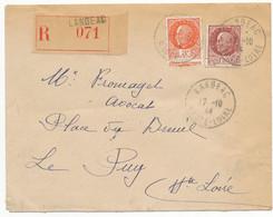 HAUTE LOIRE ENV 1944 LANGEAC RECOMMANDEE PETAIN - 1921-1960: Modern Period