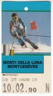 SKIPASS ABBONAMENTO GIORNALIERO MONTI DELLA LUNA MONTGENEVRE 1990 - Toegangskaarten