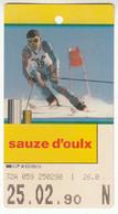 SKIPASS ABBONAMENTO GIORNALIERO SAUZE D'OULX 1990 - Toegangskaarten