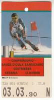 SKIPASS ABBONAMENTO GIORNALIERO SAUZE D'OULX SANSICARIO SESTRIERES 1990 - Toegangskaarten