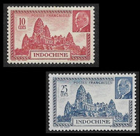 INDOCHINE 1941 -  YT 222 Et 223  - Angkor Et Pétain  - NEUF** - Neufs