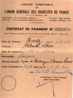 39/45 . CARTE UNION GENERALE DES ISRAELITES DE FRANCE + TIMBRES - Documentos Históricos