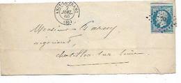 SH 1015. N° 14 (margé - 1 Voisin) PC 70/ANCY-LE-FRANC 7 JUIL 60 S/LSC V. Châtillon-s/S. Pothion = 5. TB - 1853-1860 Napoleon III