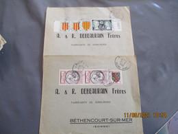 Lot 4 Lettre Affranchissement Philatelique Adresse A Debeaurain Serrurerie Bethencourt Sur Mer - 1921-1960: Periodo Moderno