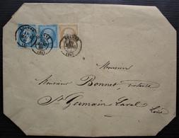 Roanne 1863 Lettre Affranchie à 50 Centimes Pour Saint Germain Laval Loire - 1849-1876: Periodo Clásico