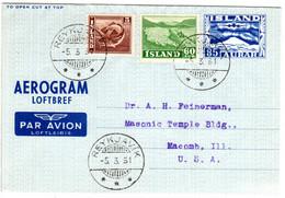 Island 1951, 5+60 Aur Zusatzfr. Auf 85 Aur Aerogramm V. Reykjavik N. USA - Unclassified