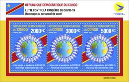 DEMOCRATIC REPUBLIC CONGO 2021 - SOUVENIR SHEET 3v - JOINT ISSUE - PANDEMIC CORONAVIRUS CORONA COVID-19 - RARE MNH - Gemeinschaftsausgaben