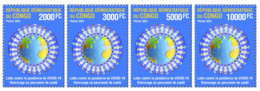 DEMOCRATIC REPUBLIC CONGO 2021 - SET 4v - JOINT ISSUE - PANDEMIC CORONAVIRUS CORONA COVID-19 - RARE MNH - Gemeinschaftsausgaben