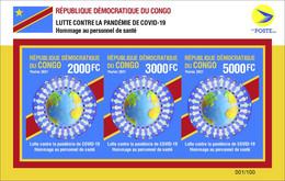 DEMOCRATIC REPUBLIC CONGO 2021 - IMPERF SOUVENIR SHEET 3v JOINT ISSUE - PANDEMIC CORONAVIRUS CORONA COVID-19 - RARE MNH - Gemeinschaftsausgaben