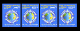 DEMOCRATIC REPUBLIC CONGO 2021 - IMPERF SET 4v - JOINT ISSUE - PANDEMIC CORONAVIRUS CORONA COVID-19 - RARE MNH - Gemeinschaftsausgaben