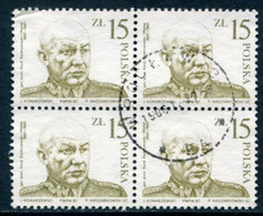 POLAND 1987 Swierczewski Anniversary Block Of 4 Used.  Michel 3089 - Used Stamps