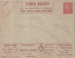 "FRANCE : ENTIER POSTAL . 10 Cts . TYPE SEMEUSE LIGNEE . ENV A  . "" PUBLICITE POSTALE . ORLEANS . SERIE 412   "" . 1906. - Standard- Und TSC-Briefe (vor 1995)"