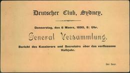 "1899, 1 D Used Stationery Card Printed Invitation ""Deutscher Club Sydney"" On Reverse. - Cartas"