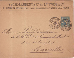 "FRANCE : ENTIER POSTAL . 15 Cts . TYPE SAGE . EP TSC . ""  YVOSE LAURENT "" . 1890 . - Standard- Und TSC-Briefe (vor 1995)"