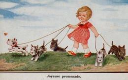 Illustrée Signée John WILLS : Petite Fille Promenant Des Scottish Terriers . - Abbildungen