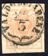 15 Centes. Rosso Vermiglio II Tipo (sassone N.4) Annullo Di Valdobbiadene (p.4)  - Buone Condizioni - Immagine Del Verso - Lombardo-Vénétie