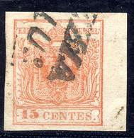 Lombardo Veneto - 15 Cent. Rosso III Tipo Usato - Qualità LUSSO - Lombardo-Vénétie
