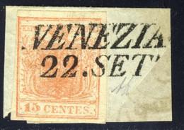 Lombardo Veneto - 15 C. Su Frammento Con Annullo Di Venezia (Sassone N.3) Signed A.Diena - Lombardo-Vénétie