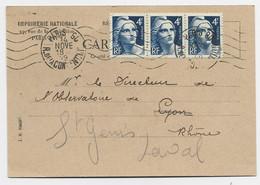 GANDON  4FR GRAVE BANDE DE 3  CARTE PRIVEE IMPRIMERIE PARIS 60 14 NOV 1949  AU TARIF USAGE TARDIF - 1945-54 Marianne De Gandon