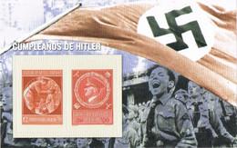 41422. Hojita Recuerdo Viñetas SEGUNDA GUERRA MUNDIAL. World War II. ALEMANIA, Cumpleaños Hitler ** - Seconda Guerra Mondiale