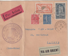 """FRANCE : PA .  AIR ORIENT . """" FRANCE INDOCHINE """" . 1931 . - Air Post"""