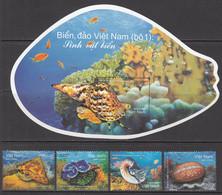 2018 Vietnam Shells Complete Set Of 4 + Souvenir Sheet MNH - Coneshells
