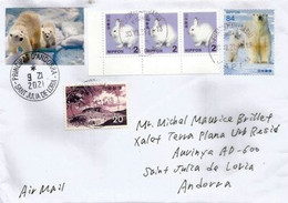 Polar Bears Endangered & Vulnerable, On Letter From Japan, Sent To Andorra, With Local Postmark - Bears