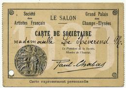 PARIS, Société Des Artistes Français - Carte De Sociétaire 1930, Beaux Arts - Cartoncini Da Visita
