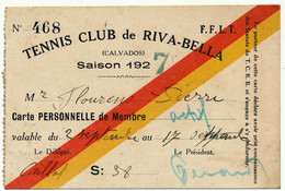 RIVA BELLA, 14 - Tennis Club, Carte De Membre 1927 - Altri