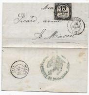 Département De SAONE ET LOIRE Cad MACON Sur Timbre TAXE N° 3 Lettre Locale 1867 - 1849-1876: Klassik