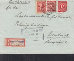 AllBes. GemAusg. 919, 933 MiF Mit SBZ 97, Auf R-Brief Mit Stempel: Hildburghausen 13.4.1946 - Amerikaanse, Britse-en Russische Zone